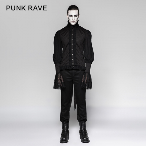 PUNK RAVE  Gothic lace puff sleeves swallow-tailed shirts Y-739