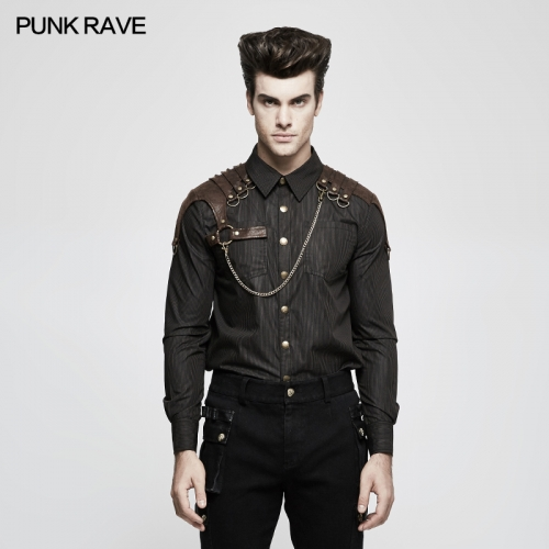 Punk Rave Autumn Steampunk vertical striped shirts Y-819