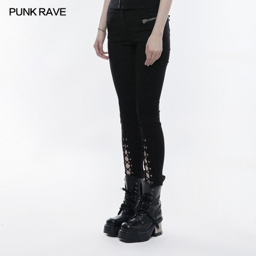PUNK RAVE lace-up cotton skinny trousers OPK-145XCF