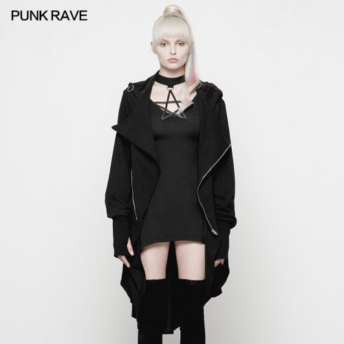 PUNK RAVE  Dark Decorative Irregular Coat OPY-260