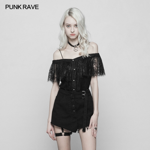 PUNK RAVE  two wear off shoulder lace T-shirt OPT-255