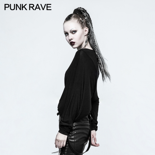 Punk RAVE Stitching 3D Cutting T-shirt OPT-136