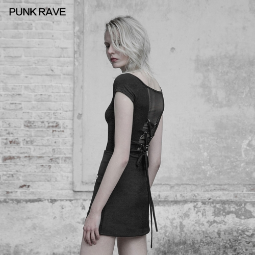 PUNK RAVE  off shoulder V-collar bandage T-shirt OPT-231