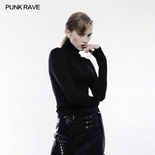 PUNK RAVE  deep V high collar long sleeve shirts OPT-182