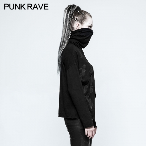 PUNK RAVE  Asymmetry Elasticity Knit Girls T-shirt OPT-121