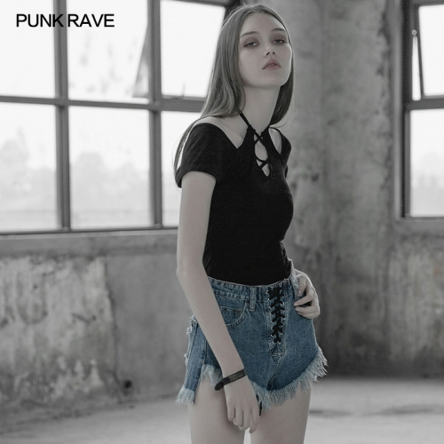 PUNK RAVE  roping sexy tight T-shirt OPT-253