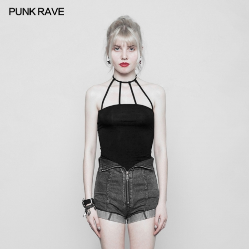 PUNK RAVE  girls sexy black vest OPT-224