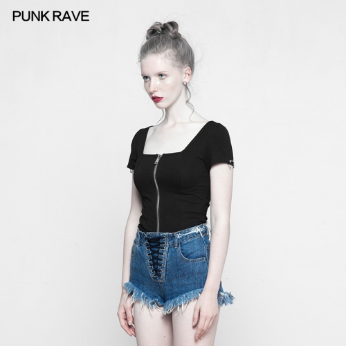 PUNK RAVE Square collar knit short T-shirt OPY-317