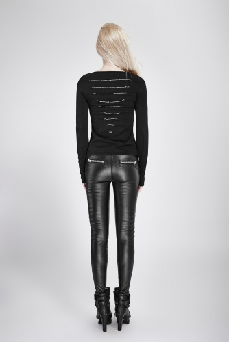 PUNK RAVE Dark Skinny long sleeve t shirt  PT-106