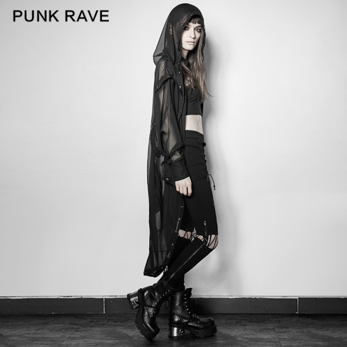 PUNK RAVE Asymmetric Chiffon Long Coat  PY-187