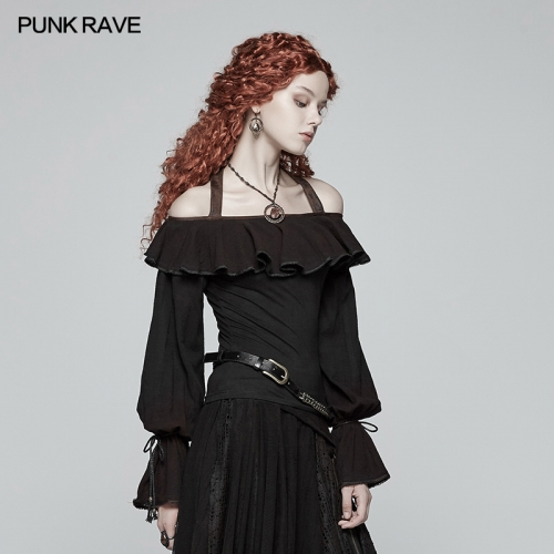 PUNK RAVE  steampunk off-shoulder flounce T-shirt WT-546TCF