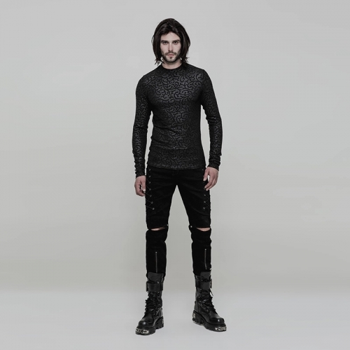 PUNK RAVE Gothic Small Round Collar Men's T-shirt WT-511