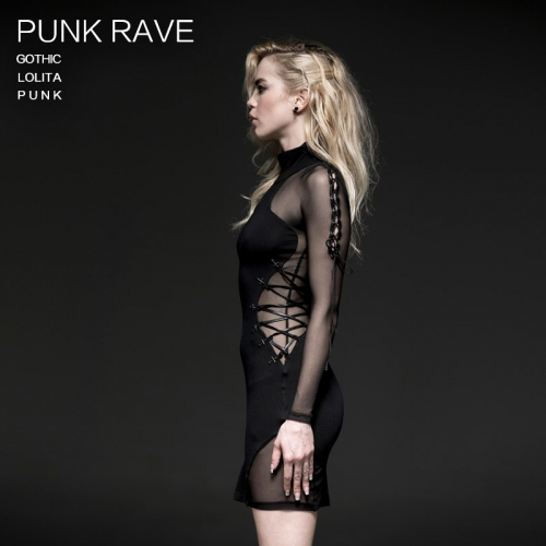 PUNK RAVE women black knit dresses Q-230