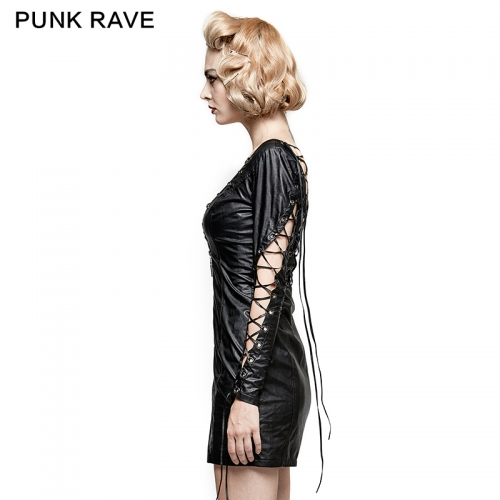 PUNK RAVE women leather short dress Q-312