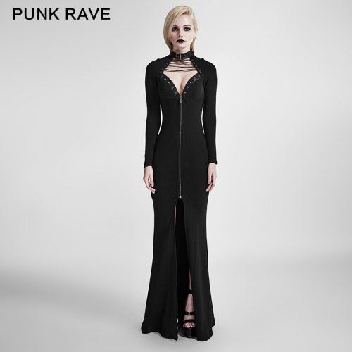 PUNK RAVE women black knit dress Q-301