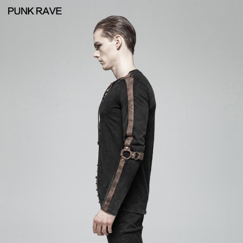 PUNK RAVE men long Sleeve knit shirt WT-561TCM