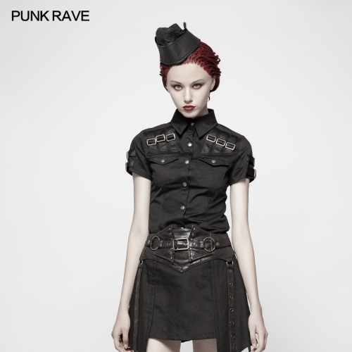 PUNK RAVE women Military Short Sleeve Shirt WY-954CDF