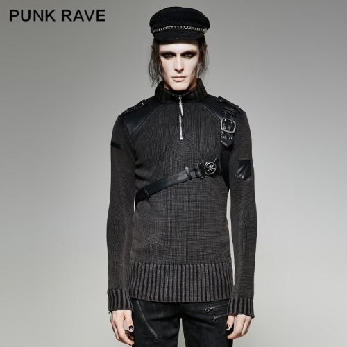 PUNK RAVE Heavy Punk Belt Vintage Sweater M-035