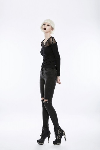 PUNK RAVE daily choker front broken holes super slim trousers OPK-132NCF