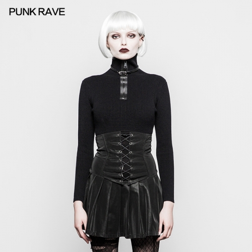 PUNK RAVE Military Style Pullover Zipper Women High Neck Winter Sweaters OPM-069TMF