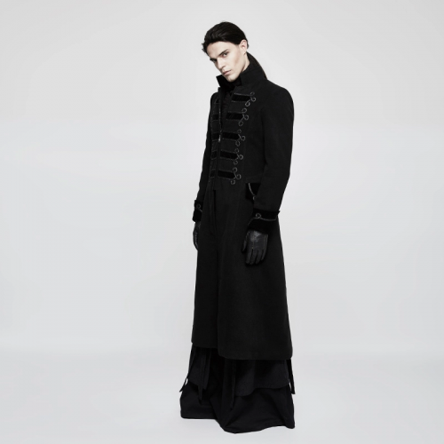 PUNK RAVE Theater men chinese knotting woollen coat gothic extra long winter coats Y-798