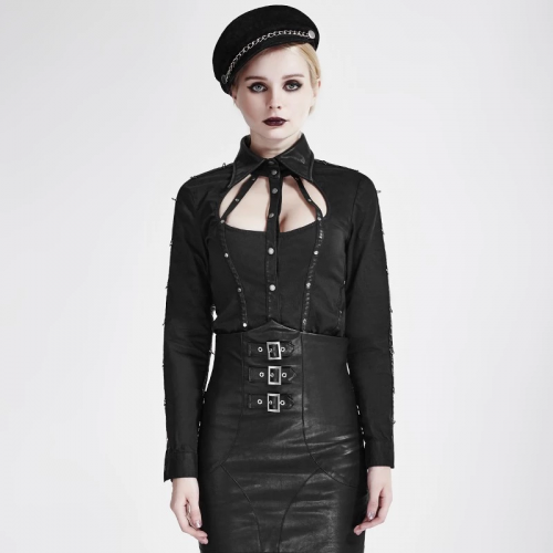 PUNK RAVE Black Autumn Cut-Out Shirt Collar Leather Stripes Long Sleeve Women Shirts Y-691