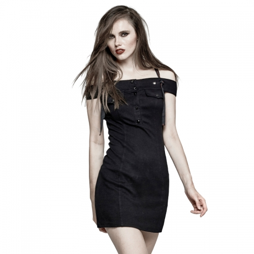 PUNK RAVE Horizontal Neck Strapless Military Uniform Casual Dress Q-304
