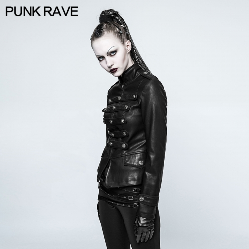 PUNK RAVE Movie cool women biker leather black short jacket Y-768
