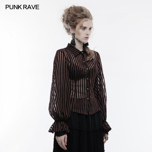 PUNK RAVE Steampunk stylish coffee women stripes blouse WY-823CCF