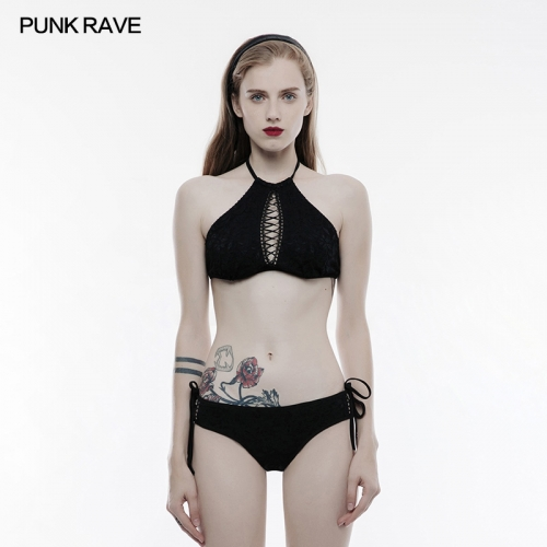 PUNK RAVE Gothic women lace elastic knitted swimwear with straps WS-248QTF