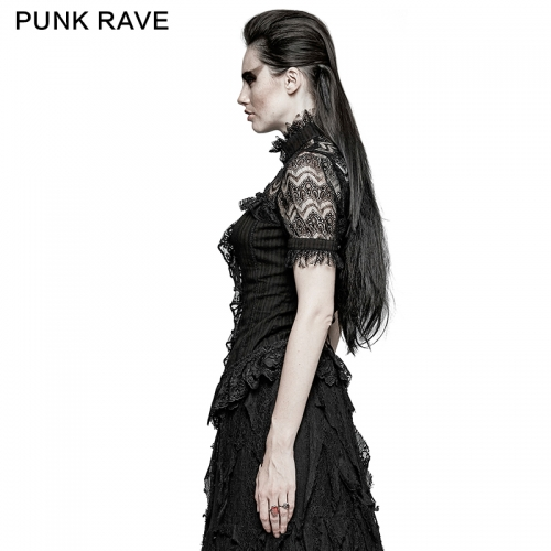 PUNK RAVE Women Gothic Steampunk Ruffles Shirt Y-723