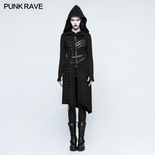 PUNK RAVE Asymmetric Diagonal Hem Women's Long Sweater Coat With Hoods Y-792