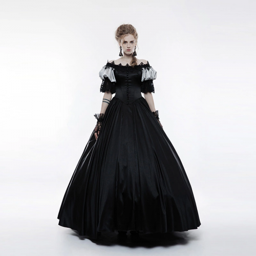 PUNKRAVE Gothic palace vintage gorgeous sleeve black long women dress christmas clothes WQ-356LQF