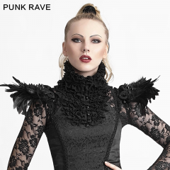 PUNK RAVE women Gothic feathers decoration collar with chinese knot S-167