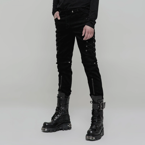 PUNK RAVE Zipper Cowboy Hollow-out Knee Micro-Elastic Denim Men's Trousers WK-315XCM