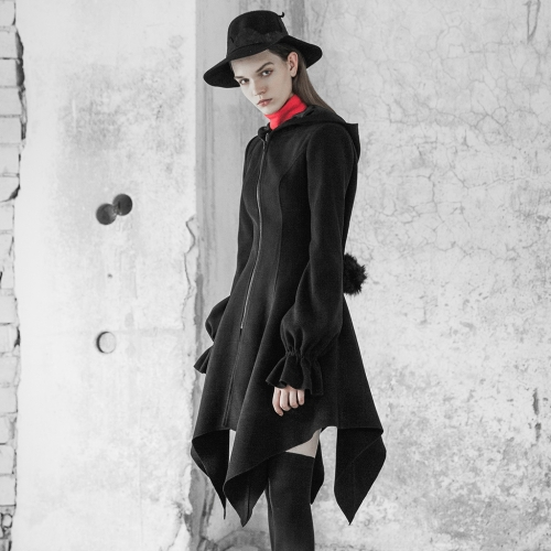 PUNK RAVE Irregular Hem Woolen Coat with Hat OPY-350XCF