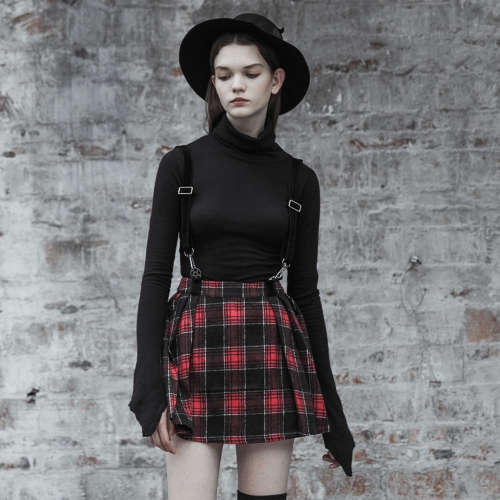PUNK RAVE Woolen lattice Pleated Half Skirt (with strap) OPQ-447BQF