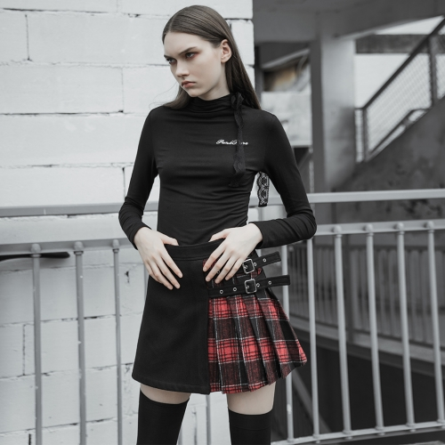 PUNK RAVE Coloured checked folded half skirt with button loop OPQ-471BQF