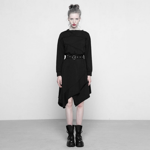 PUNK RAVE Stitching Asymmetrical Dresses with Hood OPQ-297LQF