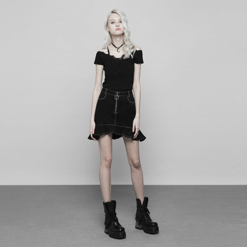 PUNK RAVE Lace V-collar Short Sleeve Knitted T-shirt OPM-097TMF
