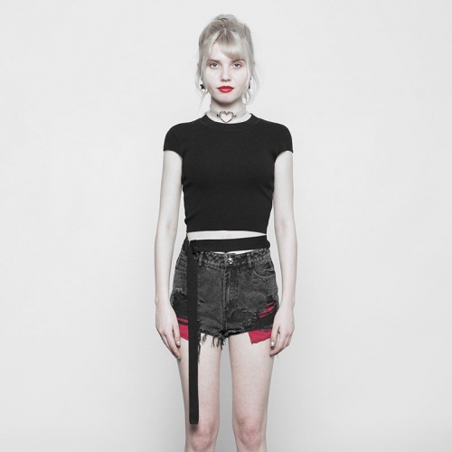 PUNK RAVE Simple Round Collar Short Bandage Sweater OPM-095TMF