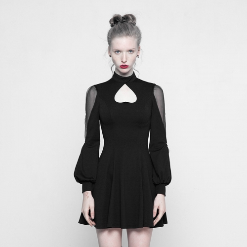 PUNK RAVE High Collar Inverted Peach Heart Mosaic Dress OPQ-305LQF