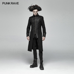 PUNK RAVE Steampunk Mid-length Coat WY-1000LCM-BK