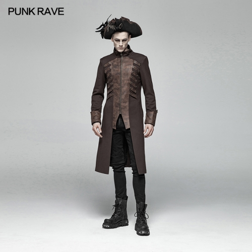 PUNK RAVE Steampunk Mid-length Coat WY-1000LCM-CO