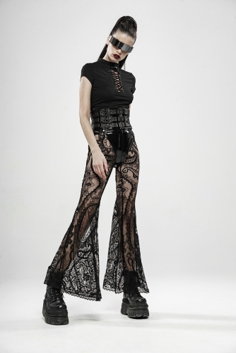 PUNKRAVE Gothic Paisley pattern lace transparent trousers WK-397XCF