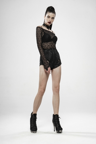 Gothic Rebirth Transparent Lace Long Sleeve T-Shirt WT-598TCF