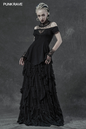 Gothic spider horizontal neck T-shirt WT-648TDF