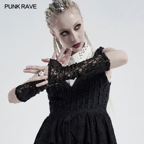 Gothic daily striped lace gloves WS-413SSF